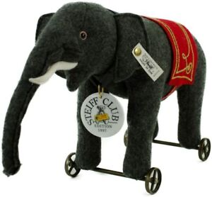 Steiff 420115 Filzelefant auf Rädern grau 30x22cm Edition 1997/98 Neu