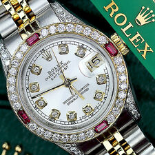 Authentic Rolex 36mm Silver Datejust 2 Tone 18K & Stainless Steel Diamond & Ruby