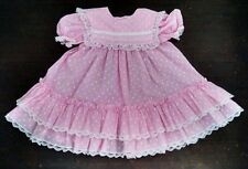 Vtg Bryan Girls Party Dress 4T Pink Frilly White Lace Ruffles