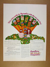 1969 lionel kalish Adam & Eve tree snake eden art Sunshine Snacks vintage Ad