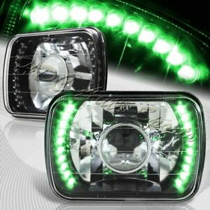 "7""x6"" H6014 H6052 H6054 Sealed Beam Green LED Black Housing Projector Headlights"