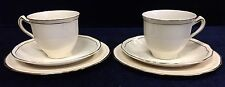 Vintage Alfred Meakin Cup and Saucer Sets with Gold Trim and 2 Cake Plates