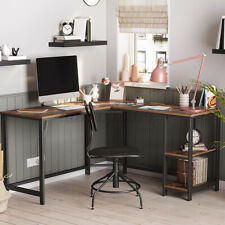 54'' L-Shaped Industrial Computer Desk with Shelves PC Laptop Study Gaming Table