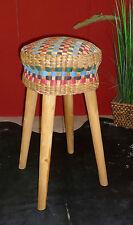 Hocker aus Teak Holz mit geflochtenem Bast/Jute Höhe:75cm, Sitz 34cm Durchmesser