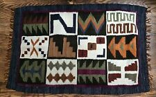 "Southwestern Western Woven Throw Rug Blue Brown Green Purple 22.5"" x 34"""
