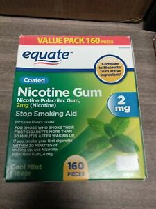 Equate Cool Mint Flavor Coated Nicotine Gum Value Pack, 2 mg, 160 count 2023