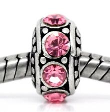 PINK October Birthstone_Bead For Silver European Chain Charm Bracelet_Rhinestone