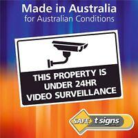 24hr Video Surveillance Sticker - 150 x 100mm - Adhesive Decal Australian Made