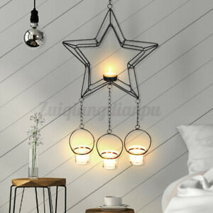 Star Hanging Candle Holder Stand Candlestick Wall Candlelight DIY Craf