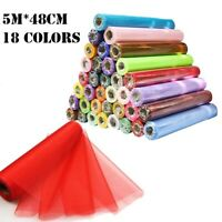 5m*48cm Tulle Roll Crystal Organza Fabric Wedding Party DIY Sewing(18 Colors)
