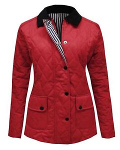 New Women Ladies Quilted Padded Collar Coat Button Zip up Wine Jacket Top Size 8
