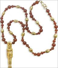 "Egyptian Jewelry Lioness Goddess Sekhmet Pendant Carnelian Bead Necklace 24"""