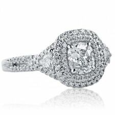 1.39 Ct F-VS1 Natural Cushion Cut Trillion Side Diamond Engagement Ring 18k Gold