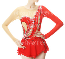 Girl Women latin Ice Skating Dress Competition Red Spandex Handmade Fashion
