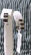 Sterling Silver, Black, White Diamond Earrings 1 pair