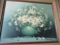 James NOBLE (1919-1989) DAISIES  ORIGINAL OIL ON BOARD PROFESSIONALLY FRAMED