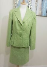 DANILLO Women 2PC Green Patterned Skirt Suit Size 14