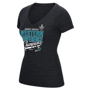 San Jose Sharks Reebok Western Conference Champs V-Neck Tri-Blend T-Shirt Women
