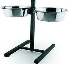 RAISED TWIN BOWLS - (Small / Large) - Stainless Steel Bowl Feeder dm Dog Cat kf