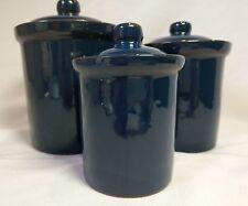 3 Round Ceramic Canisters with Lids Dark Aqua Blue