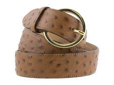 Cintura da donna in pelle di vitello stampa struzzo marrone artigianale 3,5cm