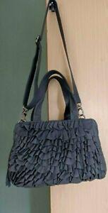 John Rocha Debenhams 100%  Leather Shoulder Bag Handbag  Grey Ruffle