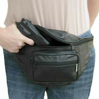 Black Leather Concealed Carry Weapon Fanny Pack Pistol Handgun Waist Bag CCW