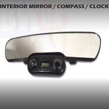 LARGE CAR REAR VIEW INTERIOR MIRROR UNIVERSAL CLOCK COMPASS TEMPERATURE  - AC26