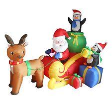 Christmas Inflatable Santa Reindeer Moose Penguin Sled Sleigh Garden Decoration