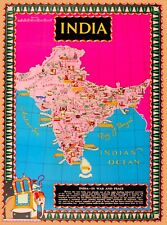 India In War and Peace Map WWII Vintage Travel Advertisement Art Poster Print