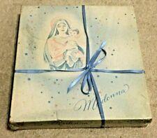Vintage Empty Madonna Baby Boy Christening Set Box, Religious Mary Jesus Display