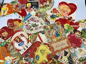 Valentine Lot of 70 + 1920's - 1970's Vintage Antique Cards #D1