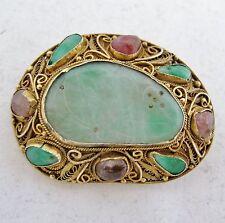 """1.55"""" Antique Chinese Vermeil Silver Brooch with Green Jadeite Jade & Tourmaline"""