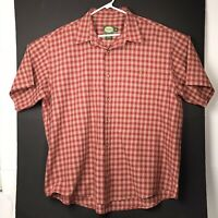 Cabelas Mens Shirt Button Up Short Sleeve Red Plaid XL Polyester Cotton