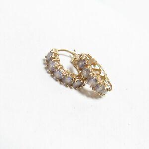 Estate 14K Yellow Gold Natural Lilac Purple Tanzanite Huggie Earrings 0.85 Cts