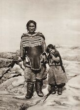 1925 Vintage Print CANADA ~ Eskimo Mother Child Baffin Island Nunavut Photo Art