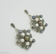 Pearl & Marcasite Studs Genuine Pearls 925 Silver Sterling Silver