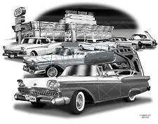 FORD SKYLINER 57,58,59 MUSCLE CAR ART PRINT  #2302   **FREE USA SHIPPING**