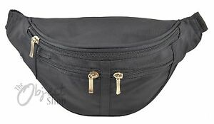 Black Microfibre 4 zip section Bum Bag curved style Waist security Belt Clip