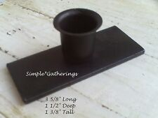 "Iron Candle Holder Taper Windowsill BLACK STURDY Farmhouse 3 5/8"" Long Primitive"