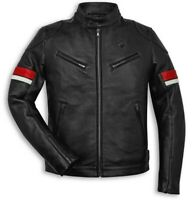 DUCATI Urban Stripes Retro Freizeit LederJacke LeatherJacket schwarz NEU 2020