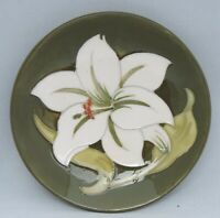 Moorcroft White Lily Dish - on green ground - marked and impressed to base
