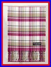 100% Cashmere Scarf White Red Check Plaid Scotland Ghram Nova Flannel Wool Z37