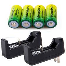 4x 1800mAh 3.7v 16340 Li-ion Rechargeable Battery batteries +2x US Plug Charger