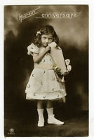 c 1910 Children Child DARLING LITTLE GIRL antique photo postcard