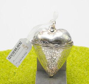 Hergo Zauberhaftes Geschenk Herz aus Glasd zum Befüllen in silber