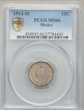 MEXICO ESTADOS UNIDOS 1914  10 CENTAVOS COIN, CERTIFIED UNCIRCULATED PCGS MS66