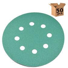 50x HQRP 5 inch 8-Hole 120-Grit Dustless Hook & Loop Sanding Discs Random Orbit