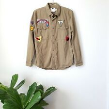 Topman Military Patch Button Down Shirt Army Green Size Medium