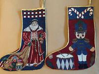 Vintage Christmas Stocking Santa Claus Soldier Drum Needlework Decoration Lot 2